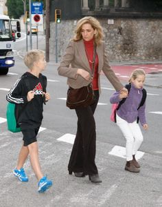 Princess Cristina of Spain, her son Miguel Urdangarin and her daughter Irene Urdangarin are seen on 22 Nov 2012 in Barcelona