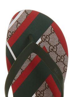 ec6f2b95328789 Gucci GG Supreme Chevron-print flip-flops Summer Feet