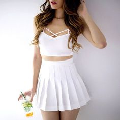 Pleated Tennis Skirt - White