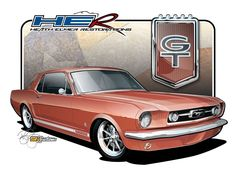 1966 Mustang GT Coupe - Vehicle Illustration by SIN Customs artist Ryan Curtis