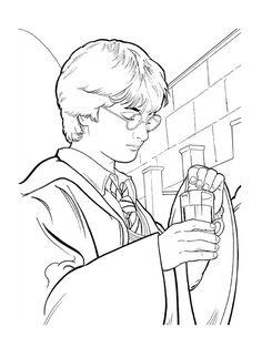 coloriage harry potter prepare une potion magique