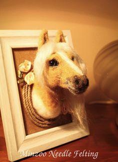 Horse portrait needle felting custom made por MinzooNeedleFelting