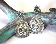 Native American Sterling Repousse Teardrop Earrings from Cowgirl Kim