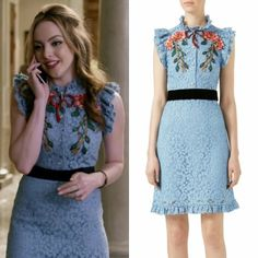 """Fallon Carrington wears this blue embroidered """"Cluny"""" dress by Gucci on Dynasty 1x16"""