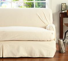 Separate Seat T-Arm Cushion Loose-Fit Slipcover - Twill #potterybarn