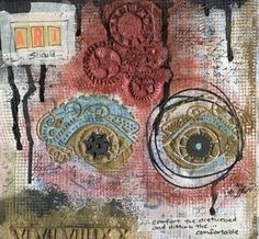 Scrap FX Steampunk Eye stencil used on this art journal page