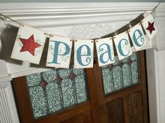 PEACE Banner Rustic Christmas Banner Peace by IfIWereBanners