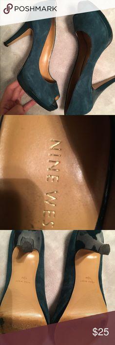 Nine West teal suede pumps Barely worn, adorable! Perfect pop of color. Nine West Shoes Heels
