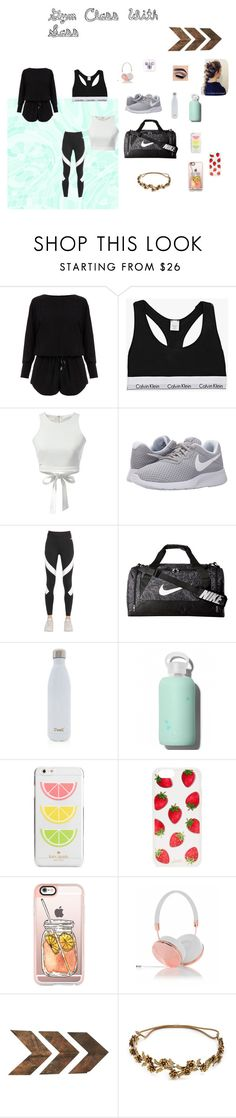 """Gym Class With Sass"" by jadenlsb ❤ liked on Polyvore featuring Helmut Lang, Calvin Klein, WithChic, NIKE, S'well, bkr, Kate Spade, Sonix, Casetify and Frends"