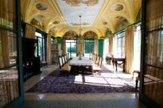 Gorgeous murals can be found on the ceilings of the Dining Room and Music Room. Photography by Dan Anderson