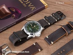[On Seiko Alpinist] 20mm MiLTAT G10 Grezzo NATO Watch Strap, D. Brown Leather Extra Soft, PVD Black [20P20DBU57S6C40]