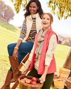 Time for an update! New colors & great neutrals. Endless layering options. | Talbots Fall Outfits Classic Style Women, Modern Classic, Fall Outfits, Fashion Outfits, Green Vest, Blue Vests, Long Vests, Autumn Winter Fashion, Winter Style