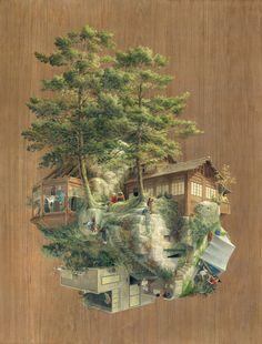 Painting on wood by Spanish artist Cinta Vidal.