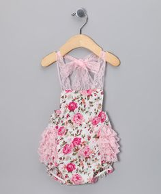 Take a look at this Pink Floral Lace Bubble Romper by Royal Baby by Royal Gem Clothing on #zulily today!