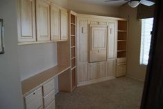 Murphy Bed idea with fold down desk for art/guest room, plus lots of room for supplies/storage