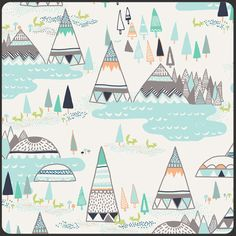 Woodland Pine Fabric - Indian Summer Collection by Sarah Watson for Art Gallery Fabrics