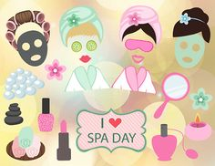 Instant Download Spa Party Photo Booth Props, Digital Spa Girl Photobooth Props…