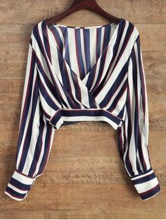 Blusa rayada de manga corta - Azul y Blanco S
