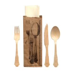 Seletti Table Disposable Wooden Cutlery and Napkin