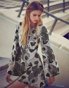 Love Long Bell Sleeve Print Skater Dress