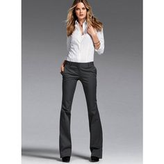 "Victoria's Secret The Kate Flare Pant ($50/$40): This sleek, tailored pant sets a new day-to-night style standard with a slim, low-rise fit and curve-loving lightweight stretch cotton. a flared length that lengthens your silhouette. New, ultra-smooth stretch cotton holds its shape (and yours) better than ever. Front zip and hip pockets; back faux pockets. Low rise with slim fit; fitted through thighs. Flare leg with 21"" opening. Machine wash. Line dry. Imported cotton/elastane."