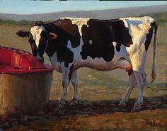 Summer Light; Holstein by carol peek  Oil ~ 11 x 14
