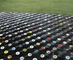 A porch roof made of unplayable records!