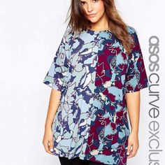 ASOS printed tee Soooooo stretchy and comfortable! It's blue, purple, and yellow. Rounded neckline. It's supposed to be a camo print. It's a long length. Could be a dress for some people. New with tags. US 18. Could fit up to 22. ASOS Tops Tees - Short Sleeve