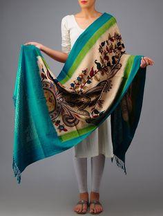 Kalamkari Ikat Cotton Dupatta #available Online at Jaypore.com #floral #ikat #handcrafted #handloom #cotton #handpainted #elegant #shopnow
