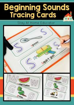 Beginning Sounds Tracing Cards are an excellent way for preschoolers and kindergarten students to practice phonics while learning letter formation! Each card has an upper and lower case letter for the child to trace with their finger or with a dry erase Writing Activities For Preschoolers, Preschool Writing, Preschool Letters, Preschool Curriculum, Alphabet Activities, Kindergarten, Fall Preschool, Preschool Printables, Literacy Activities