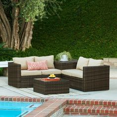 the-Hom Ventana 4-piece Outdoor Wicker Lounge Set