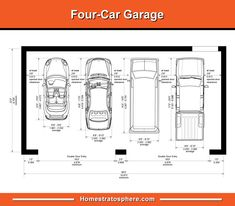 Illustrated diagram of garage dimensions Discover the standard garage dimensions and sizes here for 3 and 4 car garages. We set out illustrated diagrams setting out all key dimensions including width, depth and more. Tandem Garage, Carport Garage, Two Car Garage, Detached Garage, Garage Doors, Garage Parking, Carport Designs, Garage Design, Garages