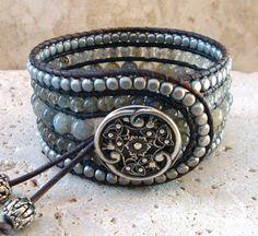 Labradorit & Silber Edelstein Perlen handgearbeiteter Manschette Stil einzelner Wrap Armband