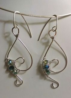 Handmade Aqua Crystal Sterling Silver Music Note Earrings by JujusNature on Etsy