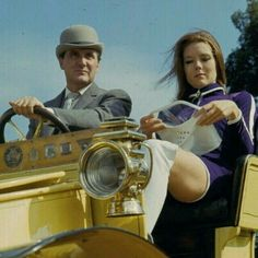 1967 - English actress Diana Rigg and English actor Patrick Macnee as 'Emma Peel' and 'John Steed' in a vintage car on the set of the television series 'The Avengers' in September Get premium, high resolution news photos at Getty Images Spy Shows, Uk Tv Shows, Great Tv Shows, The Avengers, The Original Avengers, Avengers Women, Emma Peel, Jeanne Moreau, Catherine Deneuve