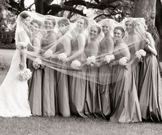 beautiful idea if bride has a cathedral veil...if not just do it with maid of honor!