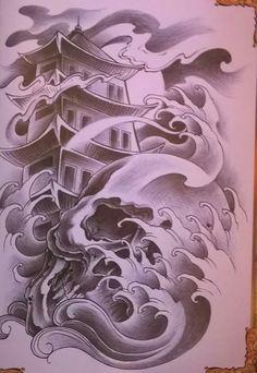 เก๋ง Japanese Temple Tattoo, Japanese Mask Tattoo, Japanese Wave Tattoos, Japanese Tattoo Designs, Japanese Sleeve Tattoos, Badass Tattoos, Body Art Tattoos, Tattoo Japonais, Japan Tattoo Design