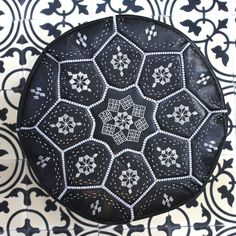 Moroccan Leather Pouffe Cover, Tile Design
