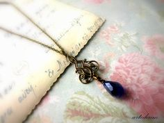 Downton Abbey Necklace Lavalier Antique Gold Royal Blue Vintage jewelry Ornate Brass Fine necklace - The love of my Life Gift for her