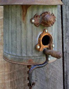 Birdhouse/with old metal on barn boards. Great combo
