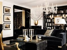 Glamorous black and white living room interior from Ralph Lauren Home One Fifth Collection.
