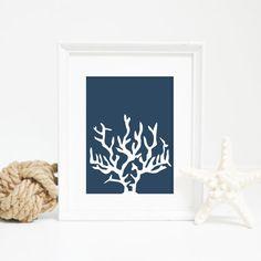 Nautical Printables Coral Print Navy Blue by PrintsbyJettyHome