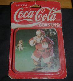 "Coca Cola 4 x 4"" Square Plastic Coasters 1992 Santa MIP Pkg Not Mint USA Estate"