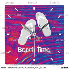 Beach Time Personalize Square Wall Clock