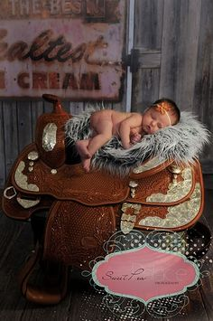 Saddle baby....cute country baby photos.