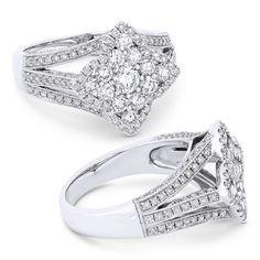 0.75ct Round Brilliant Cut Diamond Cluster & Pave Flower-Design Statement Ring in 18k White Gold - AlfredAndVincent.com