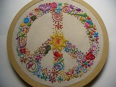 ♫ Ive got one hand in my pocket and the other one is giving the peace sign ♫ | Miss Melmoth - an embroidered peace sign