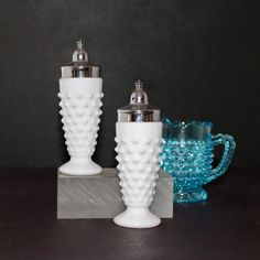 Hobnail milk glass LE Smith salt and pepper shakers by Hallingtons