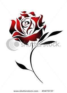 Red Rose Tattoo Design With Path Stock Photo