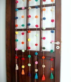 Cortina crochet Mil pompones #Crochet